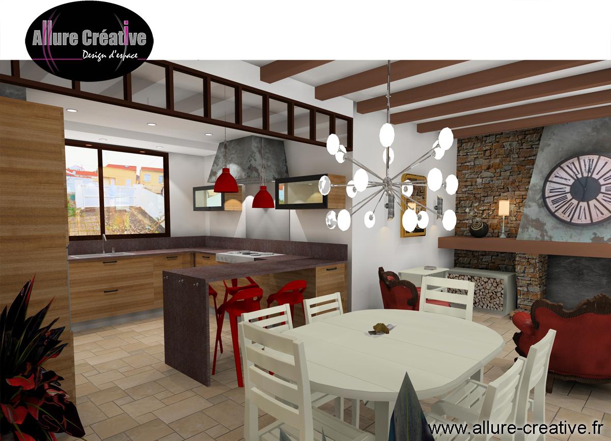 Coin feu chaleureux + séjour + cuisine façades bois