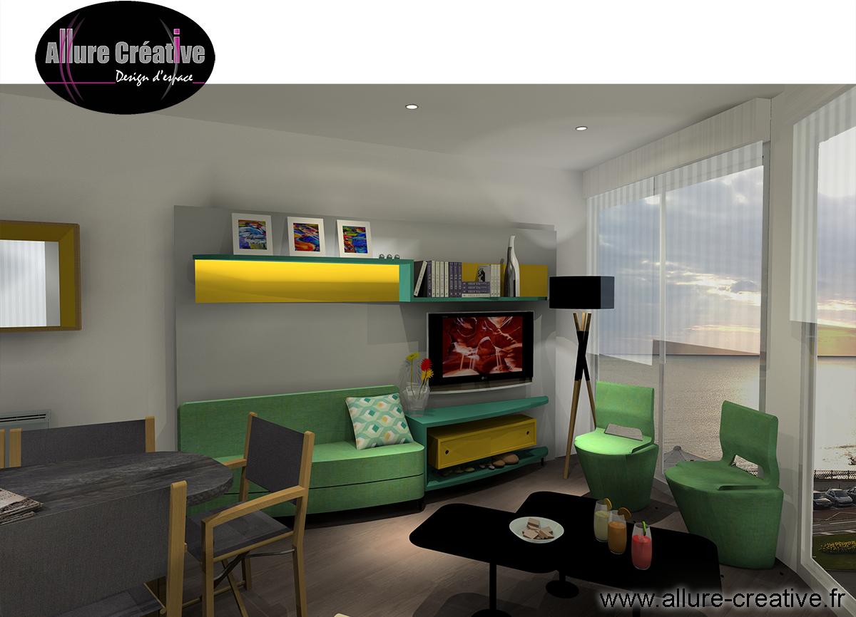 module espace TV vert et jaune