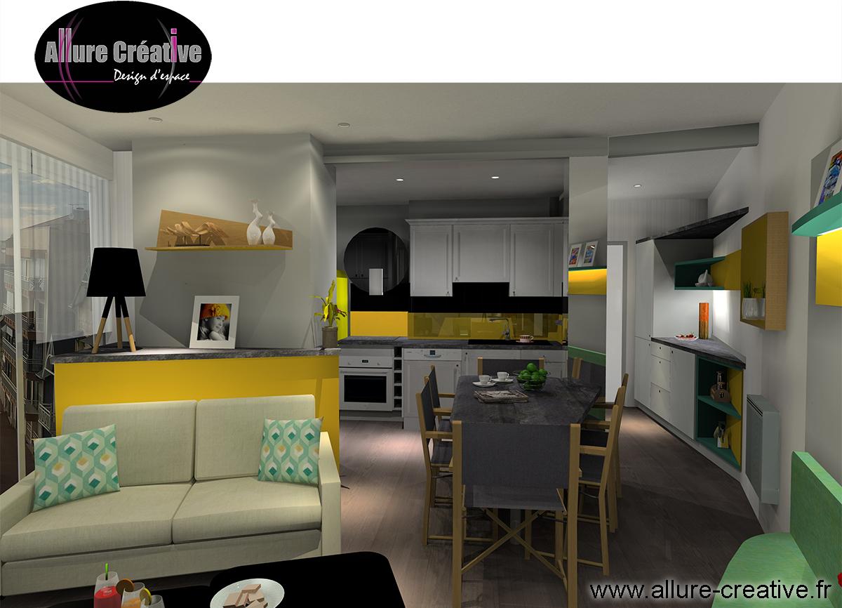 Cuisine + salon jaune émeraude