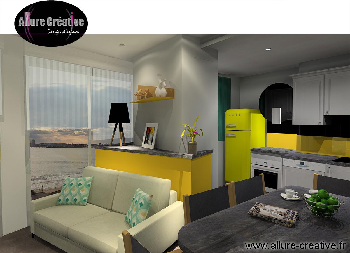 Cuisine salon bois jaune émeraude