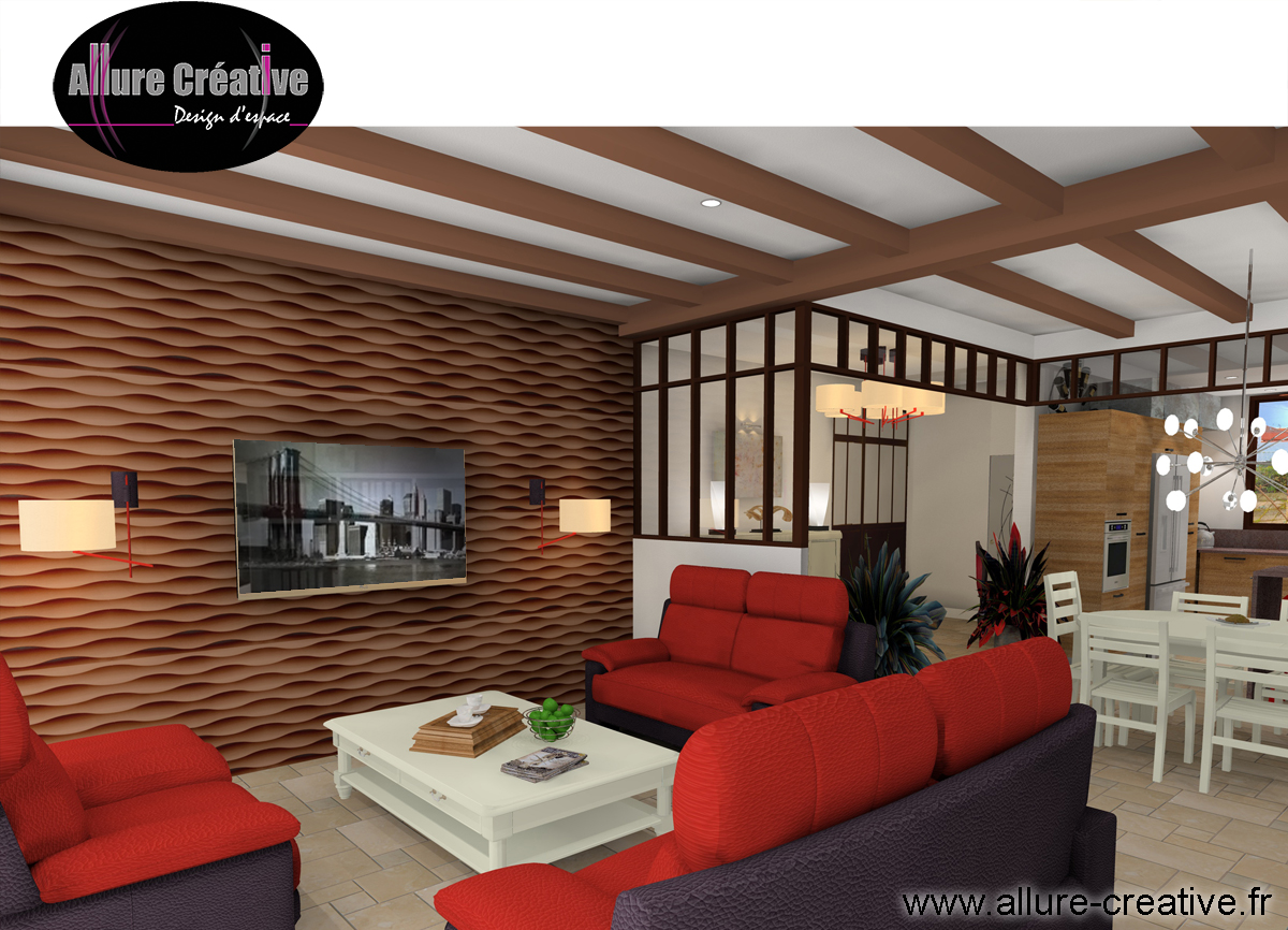 Salon rouge mur 3D
