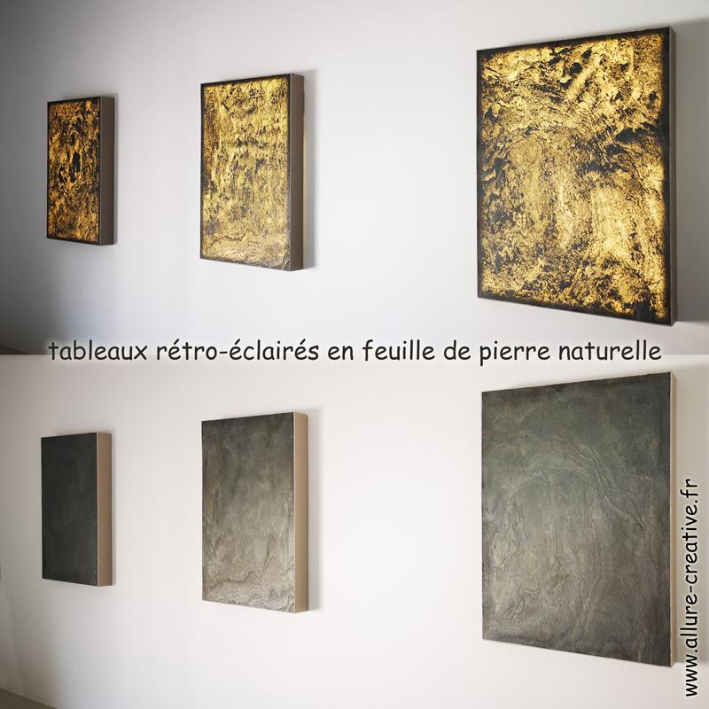 tableaux rétro-éclairé en feuille de pierre naturelle